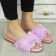CAMBRIA Purple Fluffy Flat Flip Flop Slippers