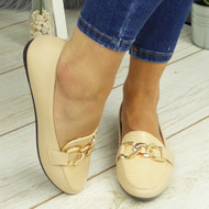KETHAN Beige Comfy Work Chain School Loafers