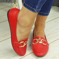 KETHAN Red Comfy Work Chain School Loafers