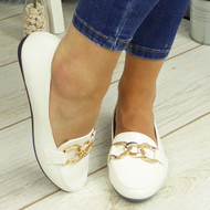 KETHAN White Comfy Work Chain School Loafers