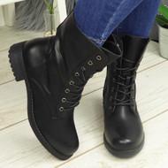 SYONA Black Mid Calf Ankle Biker Zip Boots