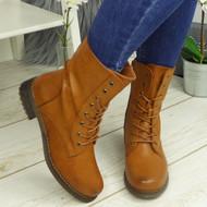SYONA Camel Mid Calf Ankle Biker Zip Boots