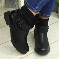 Tessla Black Ankle Biker Buckle Zip Winter Casual Boots