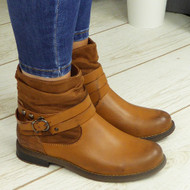Tessla Camel Ankle Biker Buckle Zip Winter Casual Boots