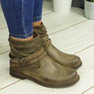 Tessla Khaki Ankle Biker Buckle Zip Winter Casual Boots