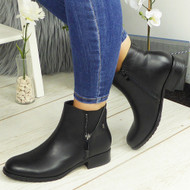 BRITTANY Black Ankle Biker Zip Casual Comfy Boots