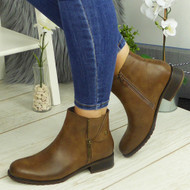 BRITTANY Khaki Ankle Biker Zip Casual Comfy Boots