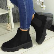ASTRID Black Ankle Chelsea Elastic Chunky Heel Boots
