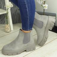 ASTRID Grey Ankle Chelsea Elastic Chunky Heel Boots