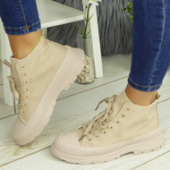 PAULINA Beige Sneakers Lace Up Fashion Plimsole Trainers