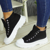 PAULINA Black Sneakers Lace Up Fashion Plimsole Trainers