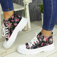 PAULINA Black-Flower Sneakers Lace Up Fashion Plimsole Trainers