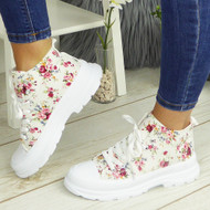 PAULINA White-Flower Sneakers Lace Up Fashion Plimsole Trainers