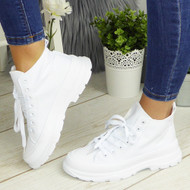PAULINA White Sneakers Lace Up Fashion Plimsole Trainers