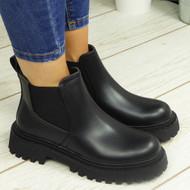 LEXXI Black Ankle Chelsea Elastic Chunky Heel Boots