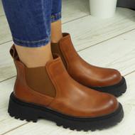 LEXXI Camel Ankle Chelsea Elastic Chunky Heel Boots