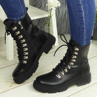 KARTIER Black Pu Ankle Army Biker Zip Chunky Boots