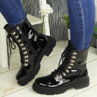 KARTIER Black Patent Ankle Army Biker Zip Chunky Boots