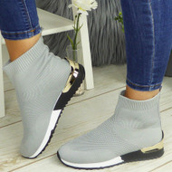 KYASIA Grey Sock Wedge Classic Jogging Trainers