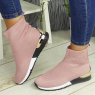 KYASIA Pink Sock Wedge Classic Jogging Trainers