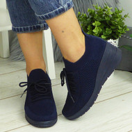 HIROSHI Navy Slip On Comfy Casual Trainers