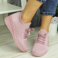 HIROSHI Pink Slip On Comfy Casual Trainers