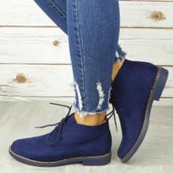 VIOLETTE Blue Ankle Lace Up Faux Suede Comfy Boots