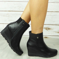 CABELA Black Ankle Wedge Sock High Heel Zip Comfy Boots
