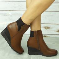 CABELA Brown Ankle Wedge Sock High Heel Zip Comfy Boots