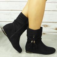 CABEY Black Ankle Wedge Pixie Zip Tassle Faux Suede Boots