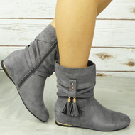 CABEY Gray Ankle Wedge Pixie Zip Tassle Faux Suede Boots
