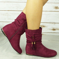CABEY Wine Ankle Wedge Pixie Zip Tassle Faux Suede Boots