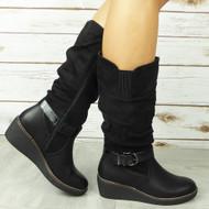 SEVYN Black Mid Calf Wedge Heel Rouched Boots
