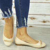 ROSLYN Beige Ballerina Flats Chain Comfy Slip On Shoes