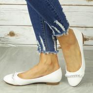 ROSLYN White Ballerina Flats Chain Comfy Slip On Shoes