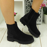DALEY Black Ankle Chelsea Zip Winter Lined Chunky Heel Boots