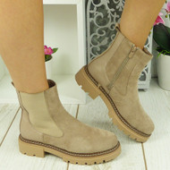 DALEY Beige Ankle Chelsea Zip Winter Lined Chunky Heel Boots
