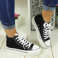 SAVY Black Canvas Trainers Sneakers Boots