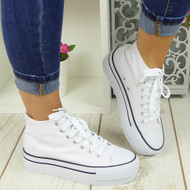 SAVY White Canvas Trainers Sneakers Boots