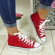 SAVY Red Canvas Trainers Sneakers Boots