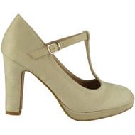 Dawna Beige High Heel T-Bar Court Shoes