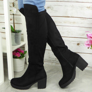 NIL Black Knee High Stretch Boots