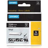 """Label RhinoPRO 1/2"""" Black Vinyl White Print"""