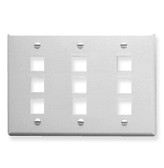 Face Plate Triple Gang 9 Port White ICC