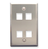 Face Plate 4 Port Stainless Steel for flush mounting jacks