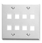 Face Plate Double Gang 8 Port White ICC