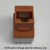 Jack CAT6 Orange RJ45 8P8C Connex, 180 Degree