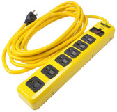 Surge Protector, 15' Cord, Yellow Heavy Duty Steel, 6 outlets with sliding safety shutters - 2 outlets spread for use with adapters