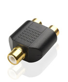 RCA Split 1 Inch Adapter RCA 2 Female TO RCA 1 Female (Mono) Gold Plated