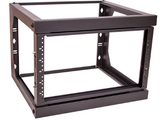 "6U Wall Mount Open Frame Rack. ROUND HOLE (FIXED DEPTH) Front Swing Out, H 15.20"" x  W 20.65"" x Depth 18"" Weight 17LB, Black"